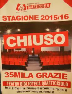 chiusura teatro - Manifesto chiusura teatro Quarticciolo